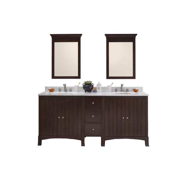 Ronbow Hampton 72-inch Bathroom Double Vanity Set in Vintage Walnut with Mirror, Marble Top with White Oval Ceramic Sink