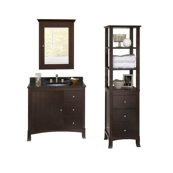 Ronbow 36 Briella Bathroom Vanity Set With Ceramic Sink Medicine Cabinet And Cabinet Storage