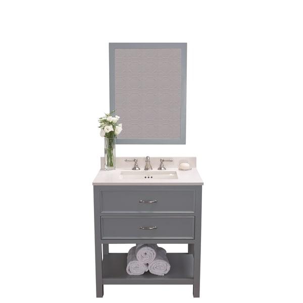 Shop ronbow newcastle 30 inch ocean grey bathroom vanity - 30 inch white bathroom vanity with sink ...