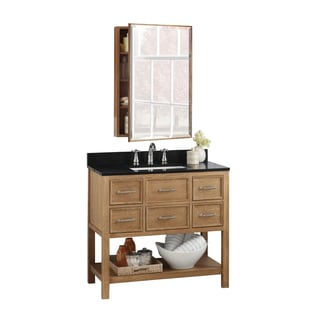 Ronbow Newcastle 36-inch Bathroom Vanity Set in Vintage Honey with Medicine Cabinet, Quartz Countertop with White Ceramic Sink