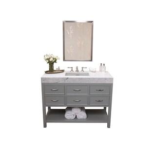 Ronbow Newcastle 48-inch Bathroom Vanity Set in Ocean Grey with Mirror, Marble Countertop with Cool Gray Ceramic Bathroom Sink