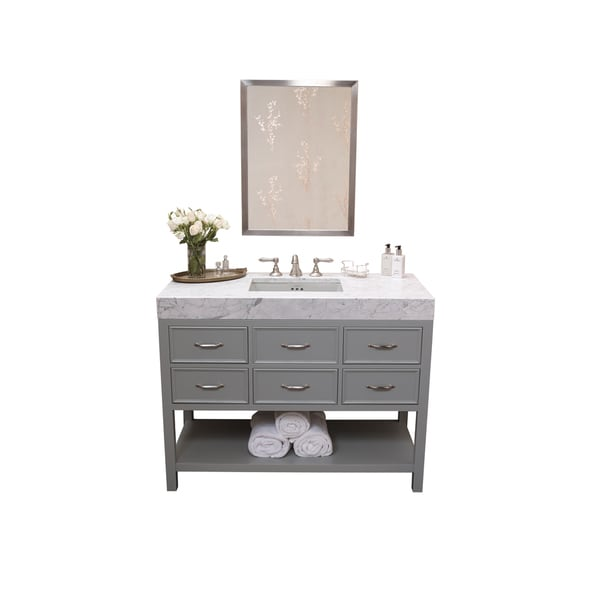 ronbow newcastle 48-inch bathroom vanity set in ocean grey with