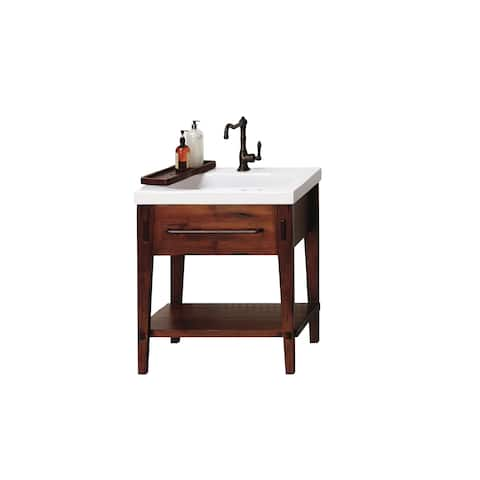 Ronbow Portland 30-inch Rustic Pine Bathroom Vanity Set with White Ceramic Utility Sink Top