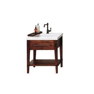 Ronbow Portland 30-inch Rustic Pine Bathroom Vanity Set with White Ceramic Utility Sink Top