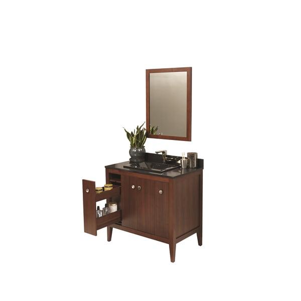 Ronbow Sophie 36-inch Bathroom Vanity Set in American Walnut with Mirror, Quartz Top with Black Square Ceramic Vessel Sink