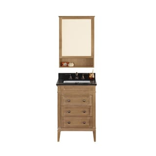 Ronbow Laurel 24-inch Bathroom Vanity Set in Vintage Honey with Medicine Cabinet, Quartz Countertop with White Ceramic Sink