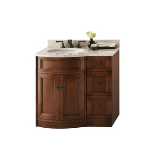 Ronbow Marcello 24-inch Bathroom Vanity Set in Colonial Cherry, Marble Top and Backsplash with White Oval Ceramic Bathroom Sink