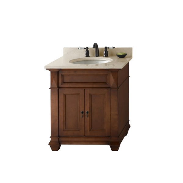 Shop Ronbow Torino 30 Inch Bathroom Vanity Set In Colonial Cherry Marble Top And Backsplash