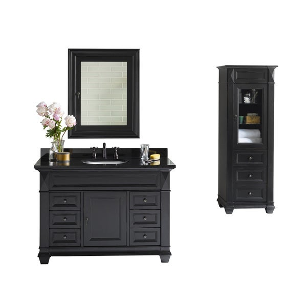 Ronbow Torino 48 Inch Bathroom Vanity Set In Antique Black, Medicine Cabinet,  Curio
