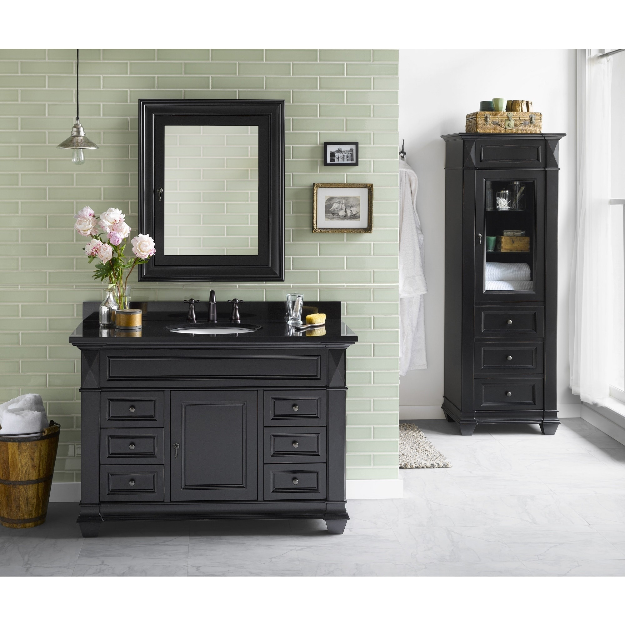 Picture of: Ronbow Torino 48 Inch Bathroom Vanity Set In Antique Black Medicine Cabinet Curio Cabinet Granite Top With White Oval Sink Overstock 13984162