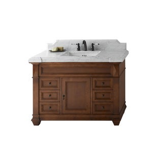 Ronbow Torino 48-inch Bathroom Vanity Set in Colonial Cherry, Marble Countertop and Backsplash with White Ceramic Bathroom Sink