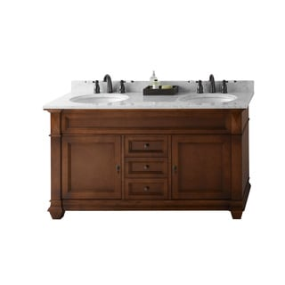 Ronbow Torino 60-inch Bathroom Double Vanity Set in Colonial Cherry, Marble Top and Backsplash with White Oval Ceramic Sink