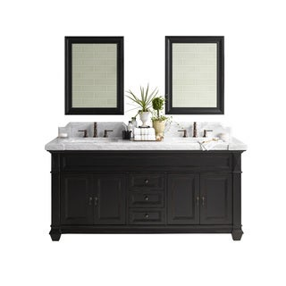 Ronbow Torino 72-inch Bathroom Double Vanity Set in Antique Black with Mirror, Marble Top and Backsplash with White Ceramic Sink