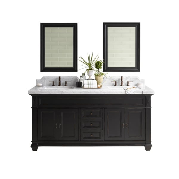 Ronbow Torino 72 Inch Bathroom Double Vanity Set In Antique Black With Mirror Marble