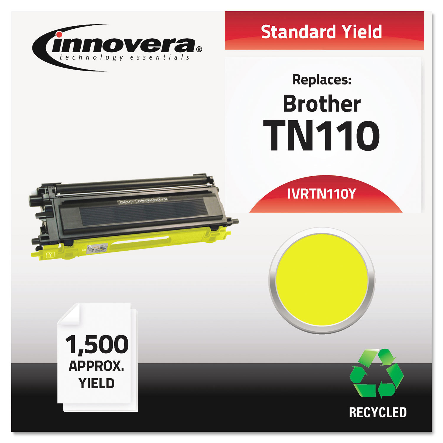 Innovera Remanufactured TN110Y Toner, 1500 PAGE-YIELD, Ye...