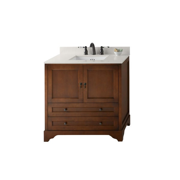 Ronbow Milano 36 Inch Bathroom Double Vanity Set In Colonial Cherry