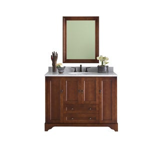 Ronbow Milano 48-inch Bathroom Vanity Set in Colonial Cherry with Mirror, Marble Top with White Oval Ceramic Bathroom Sink
