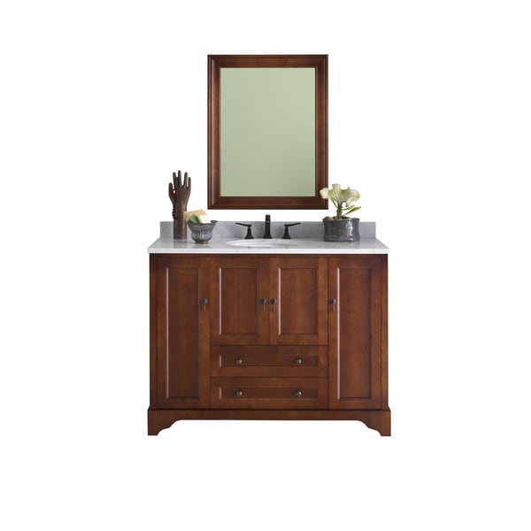 Ronbow Milano 48 Inch Bathroom Vanity Set In Colonial Cherry With Mirror Marble Top