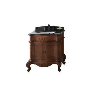 Ronbow Bordeaux 30-inch Bathroom Vanity Set in Colonial Cherry, Granite Top and Backsplash with White Oval Ceramic Bathroom Sink