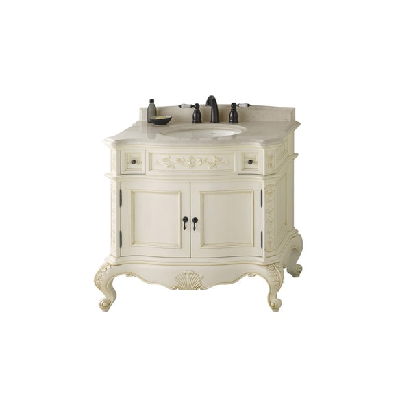 Ronbow Bordeaux 36 Inch Bathroom Vanity Set In Antique White Free Shipping Today Overstock