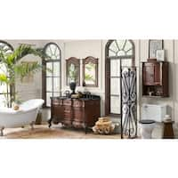 Ronbow Bordeaux 60-inch Bathroom Double Vanity Set in Colonial Cherry with Mirror, Wall Cabinet, Granite Top with White Sink
