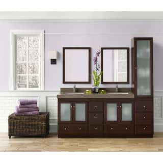 Ronbow Shaker 60-inch Bathroom Double Vanity Set with Mirror in Dark Cherry