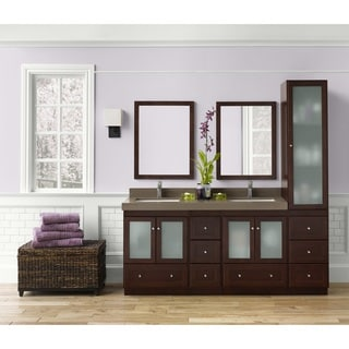 High Quality Ronbow Shaker 60 Inch Bathroom Double Vanity Set With Mirror In Dark Cherry