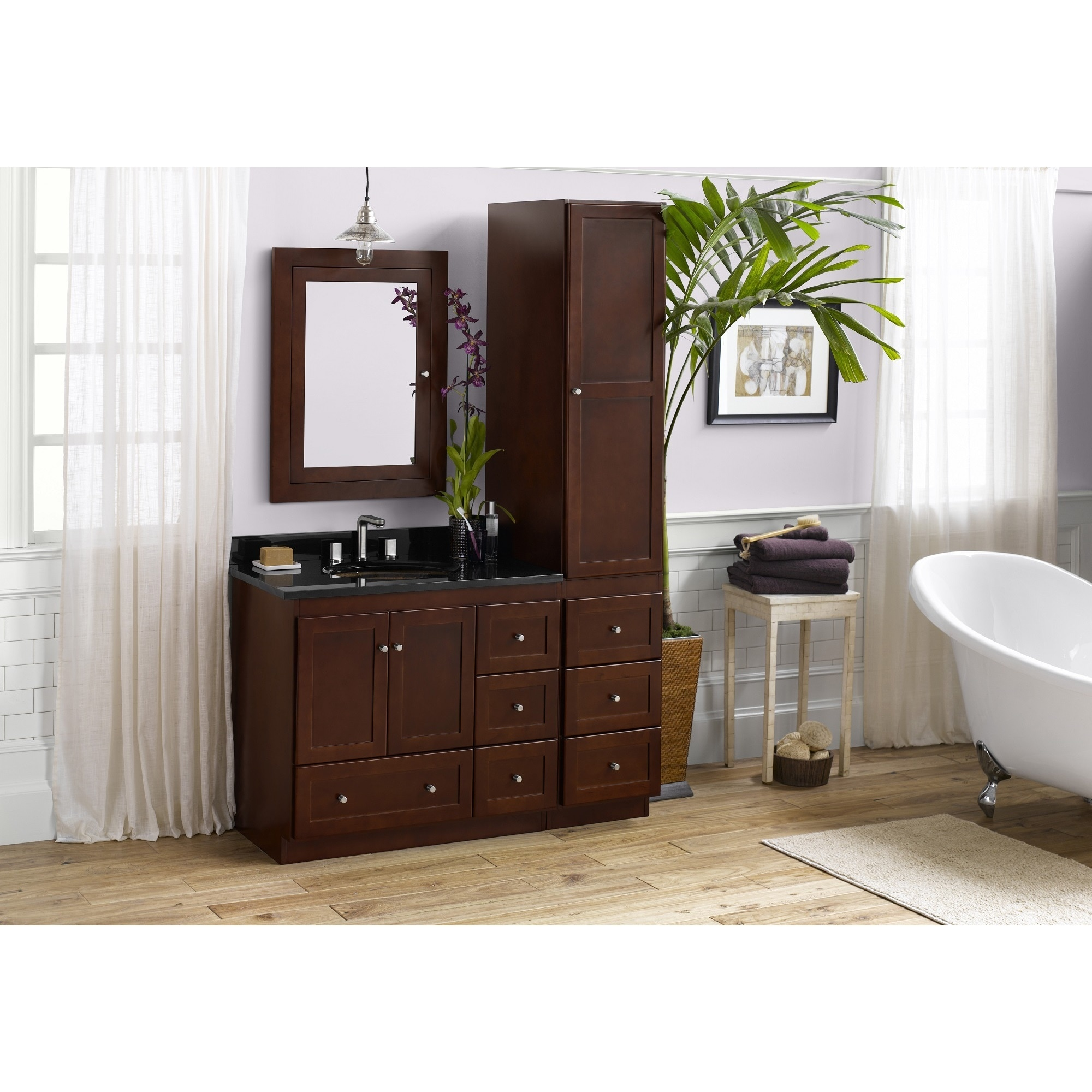 Bathroom Vanity Set In Dark Cherry