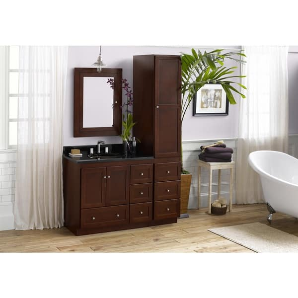 Shop Ronbow Shaker 36 Inch Bathroom Vanity Set In Dark Cherry With Medicine Cabinet And Linen Tower Granite Top With White Oval Sink Overstock 13984279