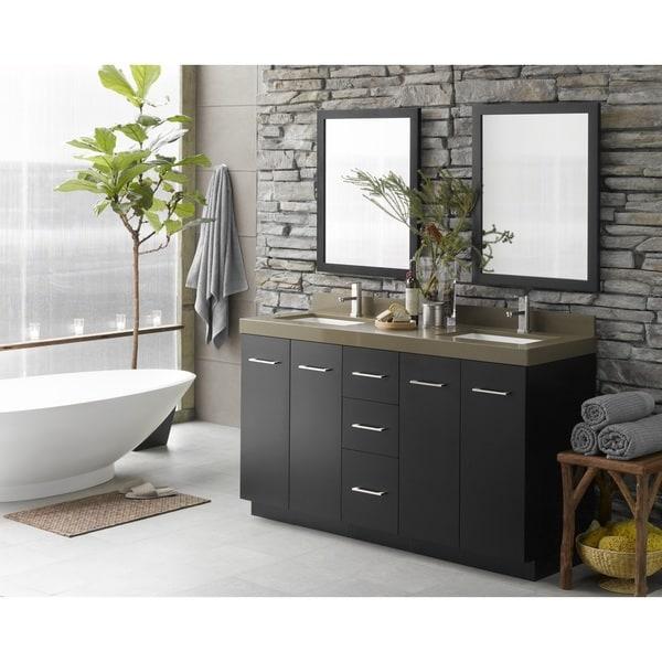 Shop Ronbow Arden 60 Inch Eco Friendly Bathroom Double Vanity Set In Black With Mirror Quartz