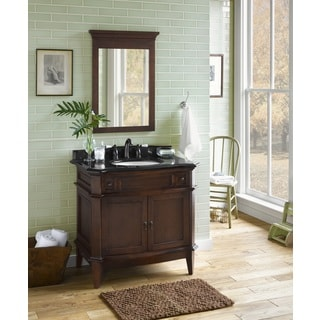 Ronbow Solerno 36-inch Bathroom Vanity Set in Cafe Walnut with Mirror, Granite Countertop with White Oval Ceramic Bathroom Sink