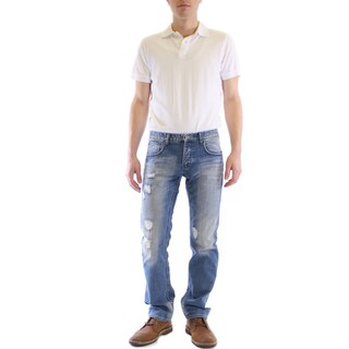 Men's JT Blue Cotton Distress Straight Leg Jeans