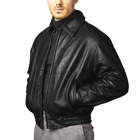 Men's Black Pebbled Leather Bomber Jacket