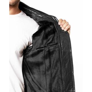 Tanners Avenue Men's Black Pebbled Leather Bomber Jacket