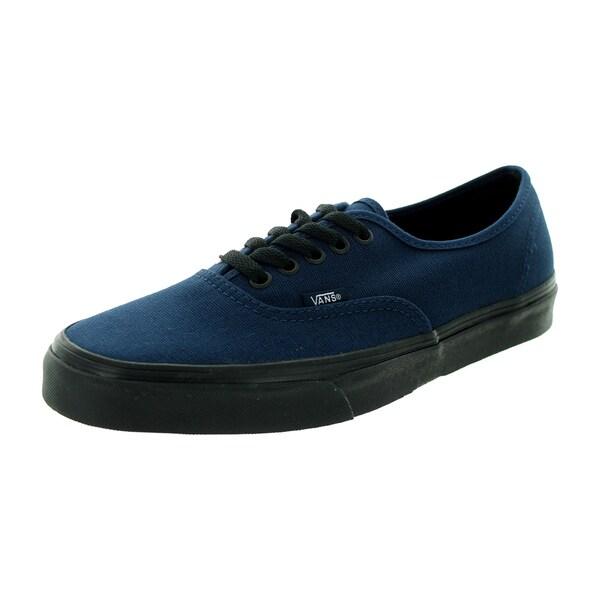 Shop Vans Unisex Authentic Blue Canvas Black Sole Skate Shoe - Free ... e2b38dc2f