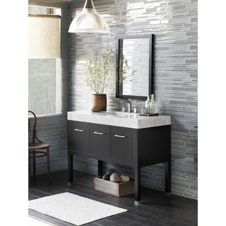 Ronbow Calabria 48-inch Bathroom Vanity Set in Black with Mirror, Marble Countertop with Ceramic Bathroom Sink in White