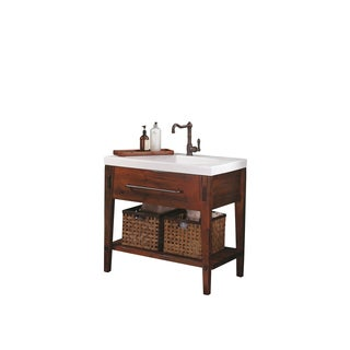 Shop ronbow portland 36 inch bathroom vanity set in rustic pine ceramic utility sink top in for Bathroom vanity portland oregon