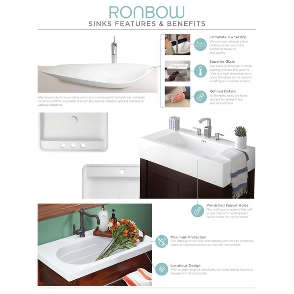 ronbow portland 36inch bathroom vanity set in rustic pine ceramic utility sink top in white with soap tray free shipping today