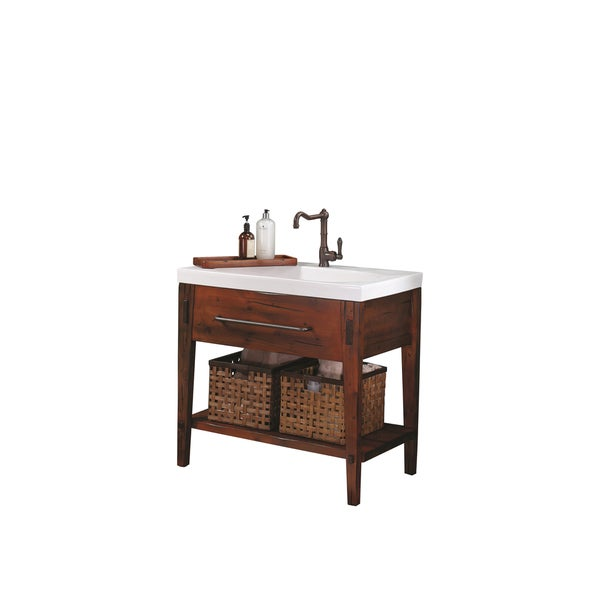 Ronbow Portland 36 Inch Bathroom Vanity Set In Rustic Pine, Ceramic Utility  Sink Top