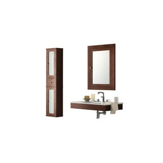 Ronbow Adina 31-inch Wall Mount Bathroom Vanity in Dark Cherry, Medicine Cabinet, Wall Cabinet and White Ceramic Sink Top