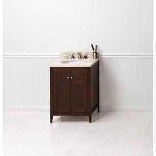 Ronbow Briella 24-inch Bathroom Vanity Set in American Walnut, Marble Top and Backsplash with White Oval Ceramic Bathroom Sink