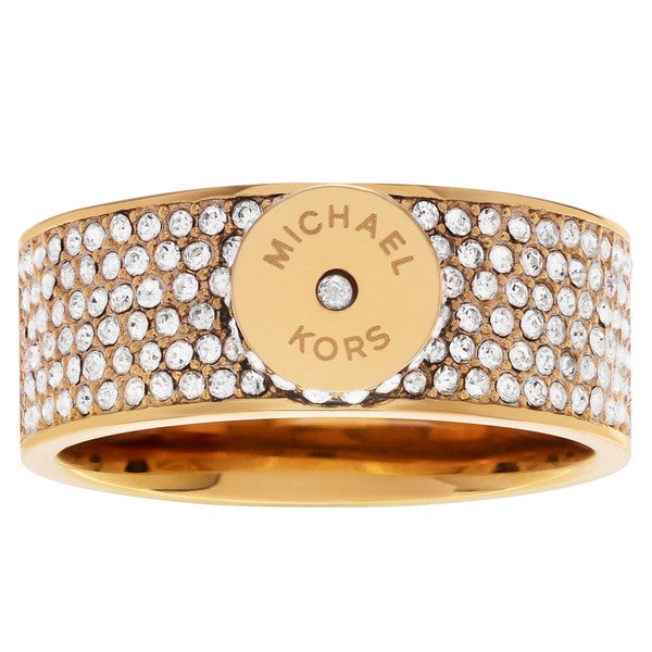 68a6af64c926 Shop Michael Kors Goldtone Stainless Steel Crystal Pave Logo Disc Ring -  Free Shipping Today - Overstock - 13984574