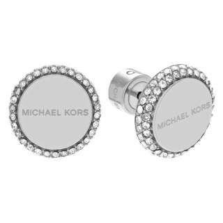 Michael Kors Silvertone Stainless Steel Crystal Pave Logo Disc Stud Earrings
