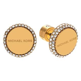 Michael Kors Goldtone Stainless Steel Crystal Pave Logo Disc Stud Earrings