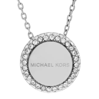 Michael Kors Stainless Steel Crystal Pave Logo Disc Pendant Necklace