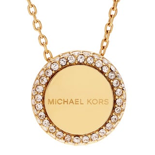 Michael Kors Goldtone Stainless Steel Crystal Pave Logo Disc Necklace