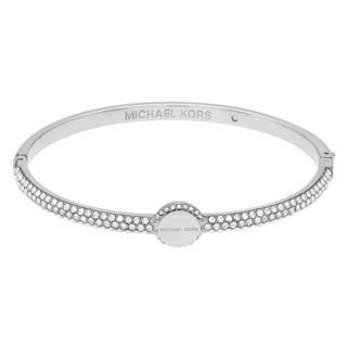 Michael Kors Silvertone Stainless Steel Crystal Pave Logo Disc Hinged Bangle Bracelet