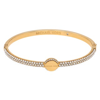 Michael Kors Goldtone Stainless Steel Crystal Pave Logo Disc Hinged Bangle Bracelet