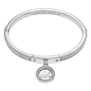 Michael Kors Silvertone Stainless Steel Crystal Pave Logo Disc Charm Hinged Bangle Bracelet