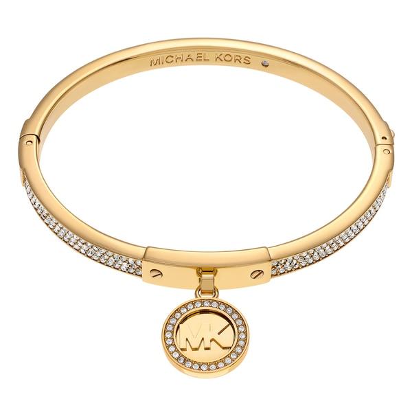 fe7ab8b3f9194 Michael Kors Goldtone Stainless Steel Crystal Pave Logo Disc Charm Hinged  Bangle Bracelet - Gold